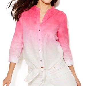INC International Concepts Ombré Tie Front Shirt
